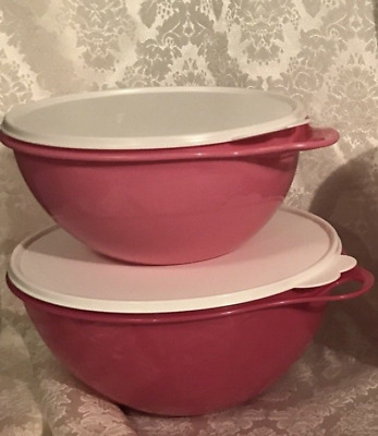 Two Tupperware Thatsa Mixing, Serving, Storage Bowls Set 19 & 12 cups Pink New
