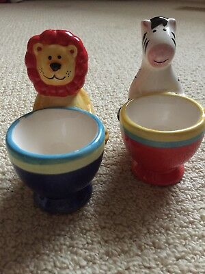 Novelty Ceramic Egg Cups X 2 Jungle Animals