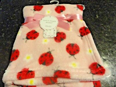"""new BABY lightweight~PLUSH Blanket~Pink Red~Black Lady Bugs~ 30"""" x 30"""" flowers"""
