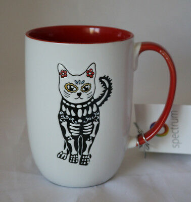 New Hand Painted Ceramic Dia De Muertos Sugar Skull Cat 16oz Coffee Tea Mug