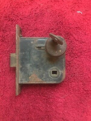 """Vintage Mortise Lock Set Brass Plate With Key 3 1/4"""" X 3 1/4""""  X 3/4"""""""