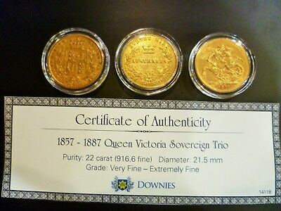 1857 - 1887 Queen Victoria Sovereign Trio
