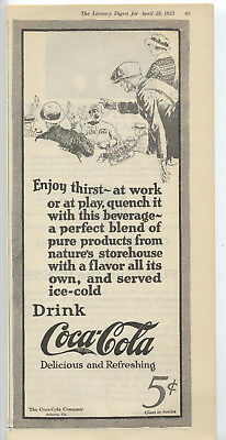 Coca-Cola Ad Literary Digest 1923 ~ Baseball ~ Bottle Carrier Coke Free Shipping