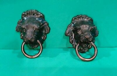 2 Large Antique Brass LION HEAD Ring Drop Cabinet, Drawer, chest or Door Handles