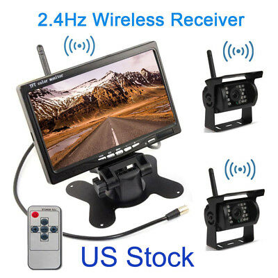 "Wireless 7"" Monitor for RV Truck Bus+ Rear View 2 Camera Night Vision Waterpoort"