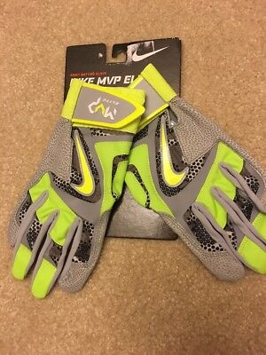Nike Mvp Elite Baseball Softball Batting Gloves Gb0401 Gray/green Adult Small