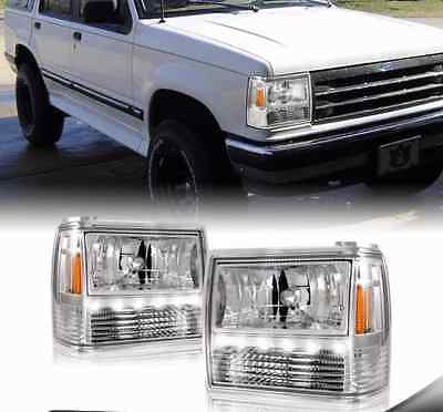 Fits 91 94 Ford Explorer 89 92 Ranger Chrome Led Headlights W