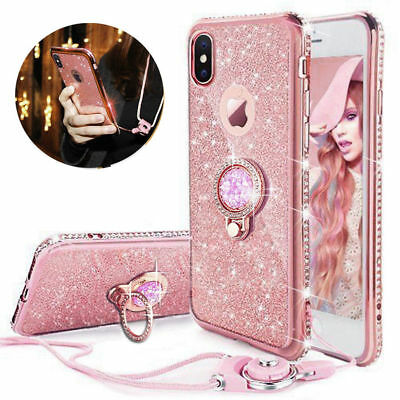 For iPhone XS Max 6s 8 Diamond Ring Stand Bling Glitter TPU Case Cover & Lanyard