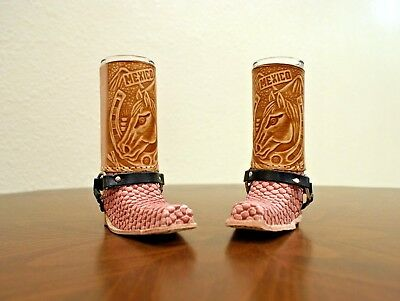 Mexican Leather Handcrafted Mini Boot Tequila Shot Glass Artisan Decorative