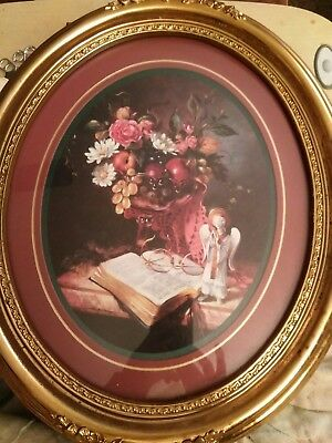 Home Interiors And Gifts Framed Oval Picture Bible Angel