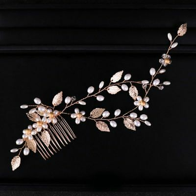 Double vine Gold Leaf wedding Bridal Bride hair comb accessories garland piece
