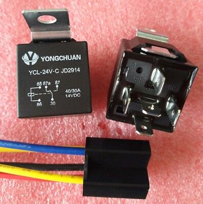 JD2914 1NC+1NO SPDT 5 Pins Automotive Truck Car Relay DC 24V 40A with SOCKET
