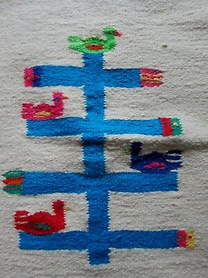 """Wool Woven BIRDS TREE OF LIFE RUG Wall Hanging 24""""Lx21""""W Mexican Vtg 1980s"""