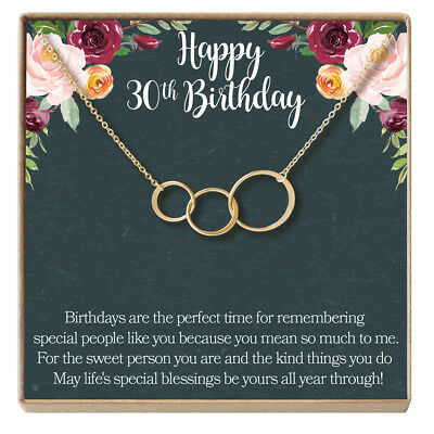 30th Birthday Gift Necklace Jewelry For Her 3 Asymmetrical Circles