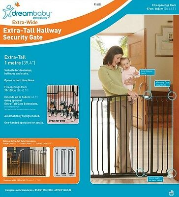 * DREAMBABY Xtra TALL and WIDE SAFETY GATE ** 1M high ** 97-108cm wide ** BLACK