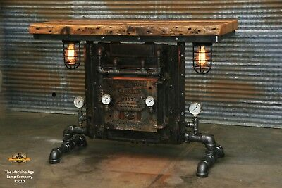 Steampunk Industrial Machine Age Lamp Boiler Door Table  Pub Hallway Console
