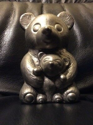 Leonard Silver Plated Bear Coin Bank