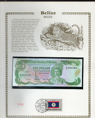 Belize Banknote 1 Dollar 1987 P 46c UNC  with FDI UN FDI FLAG STAMP Prefix A/11