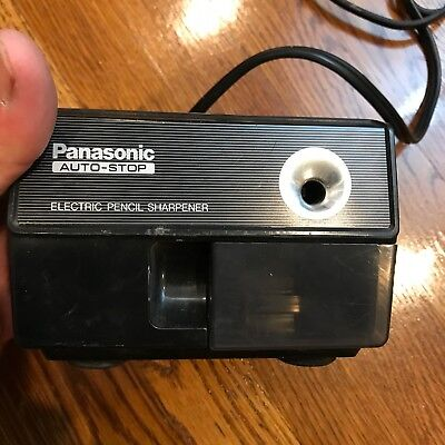 Vintage Panasonic Auto Stop Electric Pencil Sharpener KP-110 Black Made in Japan
