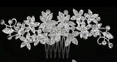 Wedding hair Accessories Crystal Silver Hair Comb Flower Clip Pin Bridal Bride 9