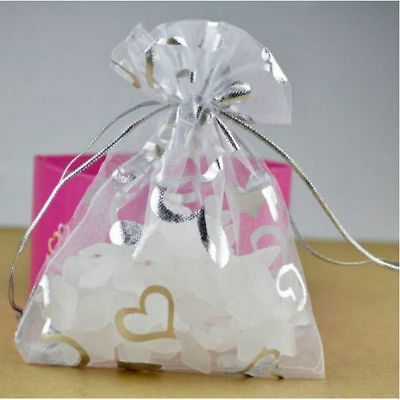 100x Organza 9x12cm White with Fine Heart Drawstring Gift Bags Wedding Gift Bags
