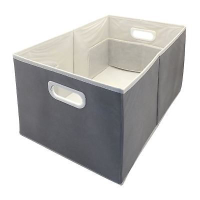 Country Club Storage Box Large Folding Slate Grey With Compartments Handles