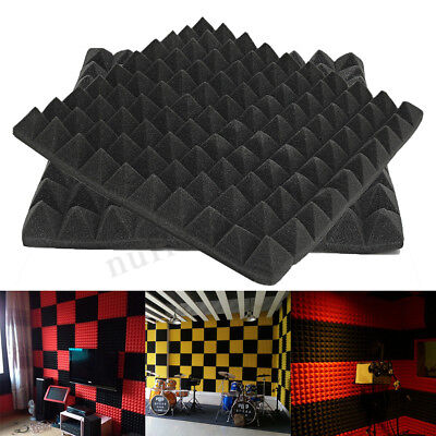 Black Acoustic Wedge Studio Absorption Soundproofing Foam Wall Tiles 50x50x5cm