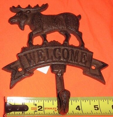 Cast Iron Welcome Moose Wall hook coat hat cabin rustic brown upper deck New
