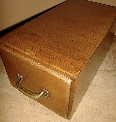 VINTAGE RETRO WOODEN OAK iDESK TOP INDEX FILING DRAWER