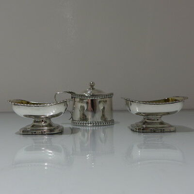 19th Century Antique George III Sterling Silver Pr Salts & Mustard Pot Edinburgh