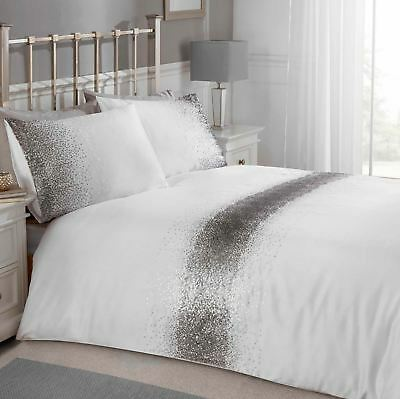 1ce8094615cc Shimmer Sequin Silver White Double Duvet Cover Set Adult Bedding Set New