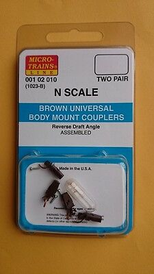 Microtrains - #1023 Brown Assembled Couplers 2 Pair