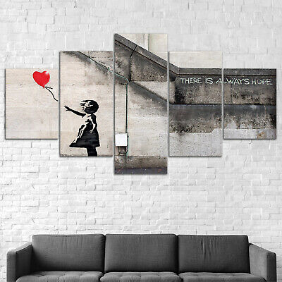 Banksy Red Balloon Abstract Canvas Print Painting Framed Home Decor Wall Art 5P