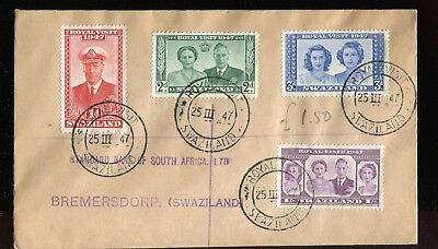 Swaziland KGVI 1947 Royal Visit issue used with special cancel
