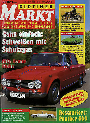 Oldtimer Markt 1993 10/93 Alfa Romeo Giulia Mazda RX7 Steyr Puch Panther Konsul