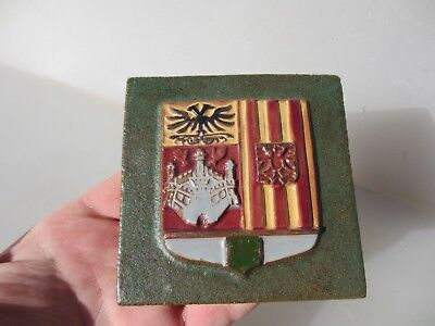 """Terracotta Tile Medieval Style Crest Banner Flag Shield Hand Painted 4"""""""