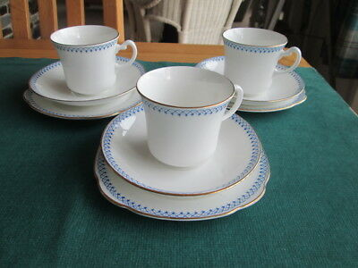 Set Of 3 Royal Vale  Fine China Trios Tea Cups Saucers & Plates Made In England