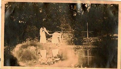 Old Vintage Antique Photograph Two Woman Holding Hands By The Pond
