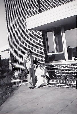 Vintage Antique Photograph African American Man & Woman By Brick Building