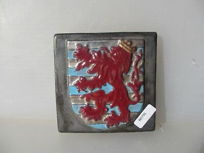 """Terracotta Tile Medieval Style Crest Flag Shield Lion Hand Painted 4"""""""
