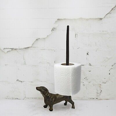 Cast Iron Dachshund Toilet Roll Holder Novelty Kitchell Roll Dog Free Standing