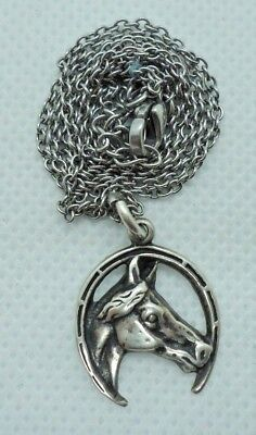 "Vintage sterling horse head in horseshoe pendant on 20"" sterling chain"