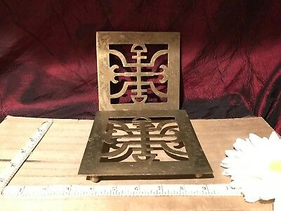 2 Vintage Engraved Chinese Asian Symbols Letters Brass Trivet w/ Ball Feet