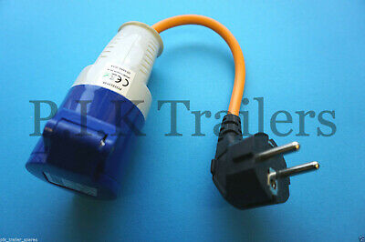 IP44 rated Euro 230v Hook Up Adaptor for caravan mains electrics