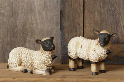 New Primitive Vintage Style SET 2 LAMB WITH BELL Sheep Statue Figurine