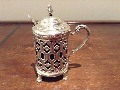 Vintage Silver mustard pot with blue glass liner