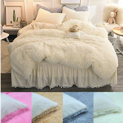 Shaggy Faux Long Fur Throw Blanket Teddy Bear Couch Bed Chair Sofa Double Size