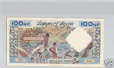 BANK OF L'ALGERIA 100 NEW FRANCS 31.7.1959 PICK 121 a quality