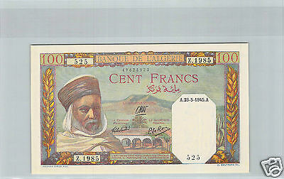 Bank Of L'algeria 100 Francs 23.5.1945 Z.1985 No. 49623525