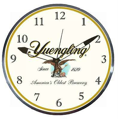 """Yuengling Beer 15"""" Retro Style Metal Pam Advertising Clock LED Lighted"""